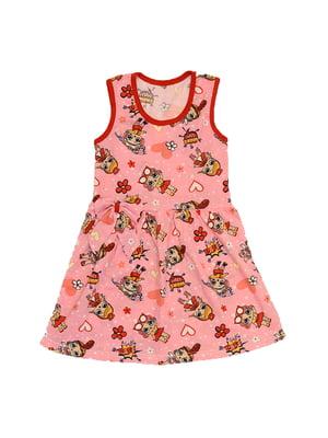Сукня рожева з принтом   5401709