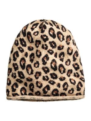 Шапка бежева з леопардовим принтом | 5402007