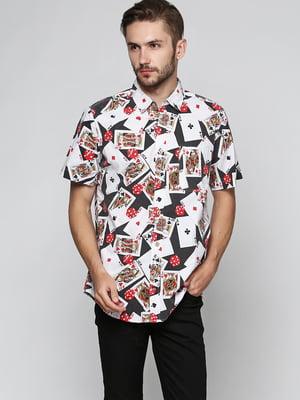 Рубашка белая с принтом | 5401226