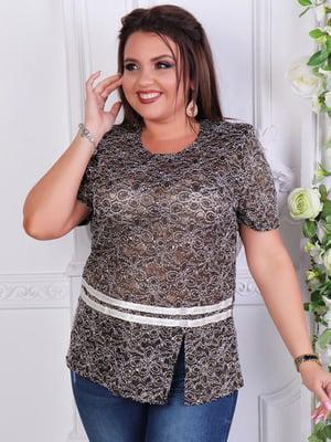Блуза коричневая с декором | 5402852