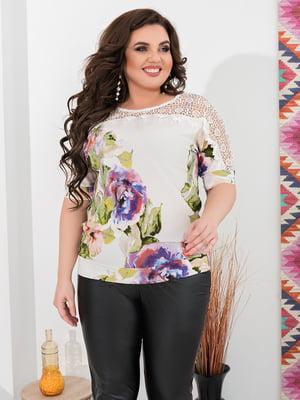 Блуза белая с принтом | 5402858