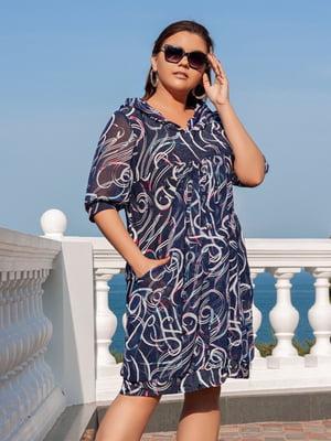 Сукня синя з принтом | 5402865