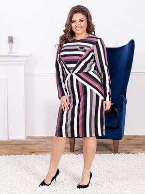 Сукня кольору фуксії в смужку | 5402868