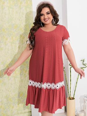 Сукня бордова з декором | 5402878