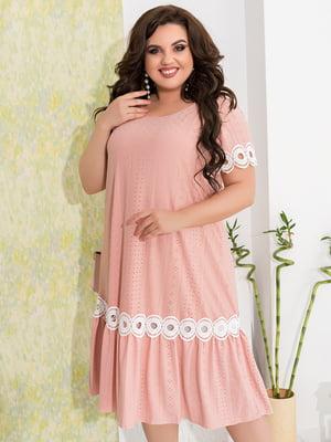 Сукня кольору пудри з декором | 5402880