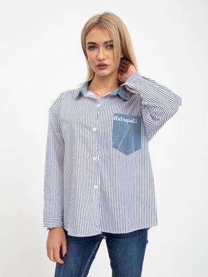Рубашка бело-синяя в полоску | 5416081