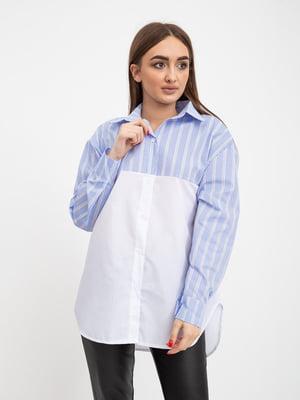 Рубашка бело-голубая в полоску | 5416083