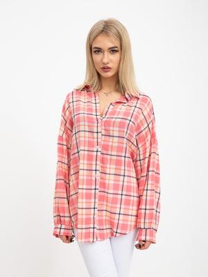 Рубашка розовая в клетку | 5416099