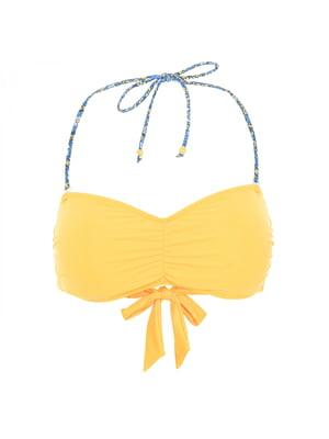 Ліф купальний жовтий з принтом | 5405223