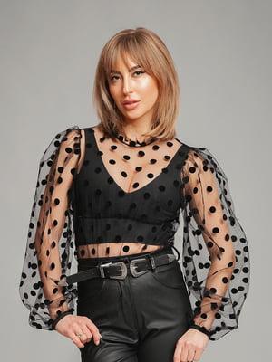 Блуза черная в горошек | 5419237