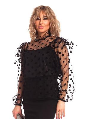 Блуза черная в горошек | 5419239