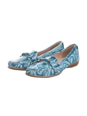 Туфлі блакитні з принтом | 5419312