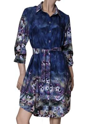 Сукня блакитна з принтом | 5419549