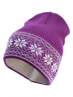 Шапка фиолетовая с узором   5421416