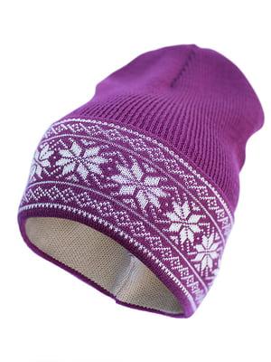 Шапка фиолетовая с узором | 5421458
