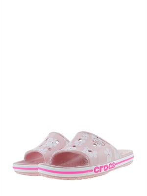 Шльопанці рожеві з принтом | 5422687