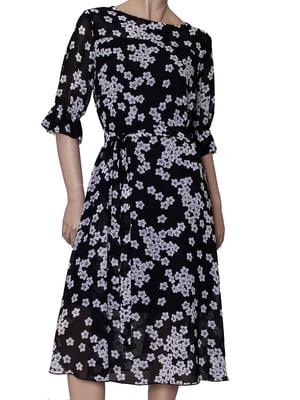 Сукня чорна в квітковий принт | 5423035