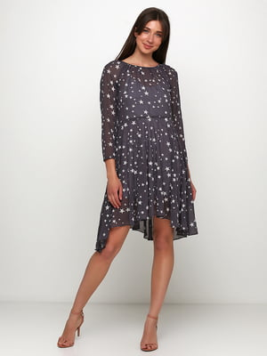 Сукня сіра в принт | 5423066