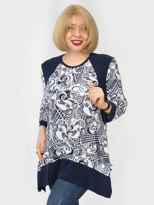 Блуза синяя в принт | 5423312