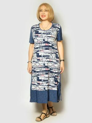 Платье синее в принт | 5423314