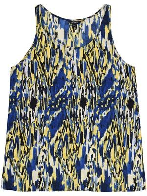 Блуза для вагітних синьо-жовта з принтом | 5355151