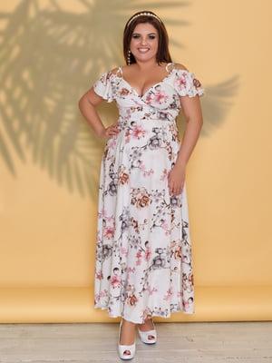 Платье белое в цветочный принт | 5423528