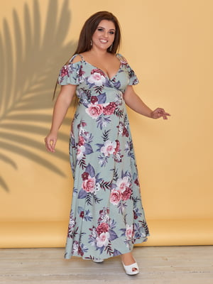 Платье бирюзовое в цветочный принт | 5423529