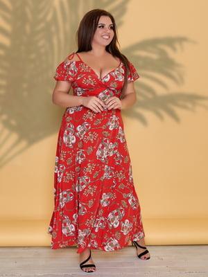 Платье красное в цветочный принт | 5423530