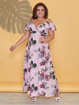 Сукня ніжно-рожевого кольору в квітковий принт   5423531