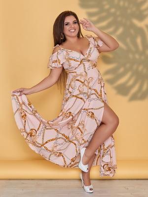 Платье персикового цвета в принт | 5423532