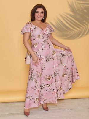 Платье пудрового цвета в цветочный принт | 5423533