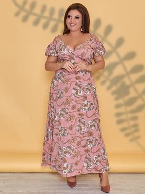 Платье пудрового цвета в принт | 5423534