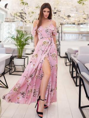 Сукня фрезового кольору в квітковий принт   5423561