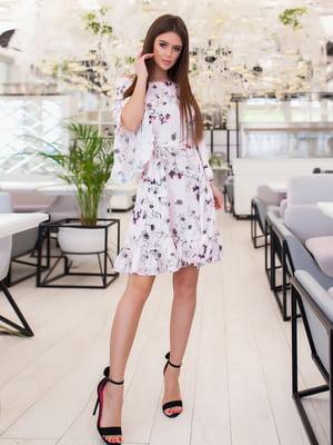 Платье сиреневого цвета в цветочный принт | 5423577
