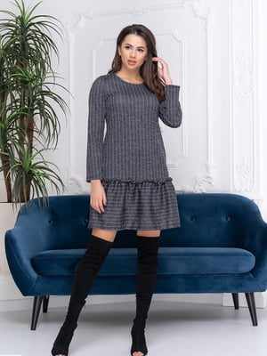 Сукня графітового кольору в смужку | 5423605