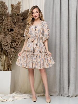Сукня бежева в принт | 5423618