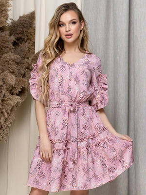 Сукня пудрового кольору в принт | 5423620