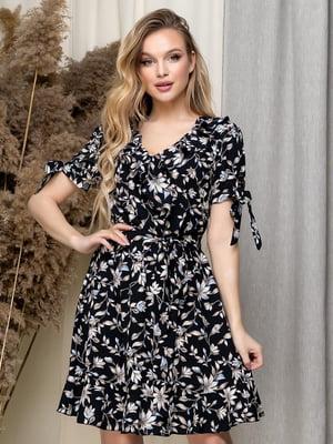 Платье черное в цветочный принт   5423623