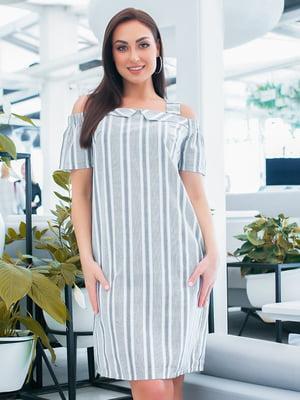 Платье бело-голубое в полоску   5423653