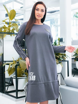 Сукня графітового кольору з принтом | 5423657