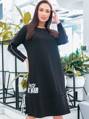 Платье черное с принтом | 5423658
