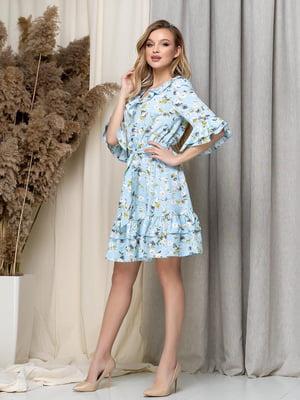 Платье голубое в цветочный принт | 5423615