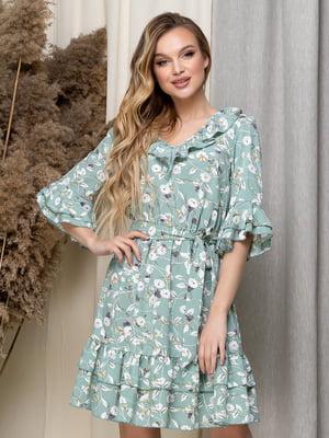 Сукня зелена в квітковий принт | 5423616