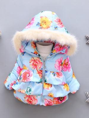 Куртка блакитна з принтом | 4859333