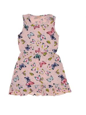Сукня рожева з принтом | 5423997