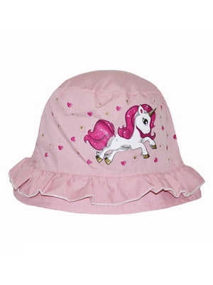 Панама розовая с принтом | 5424137