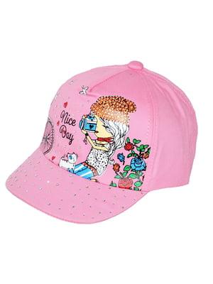 Кепка рожева з принтом | 5424196