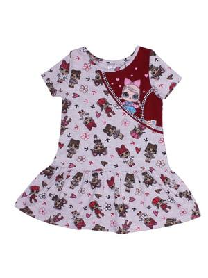 Платье бордовое с принтом | 5361569