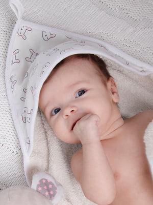 Рушник-куточок молочного кольору в принт   5426683