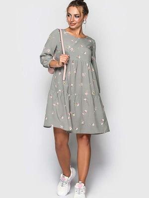 Сукня сіра в квітковий принт   5426805